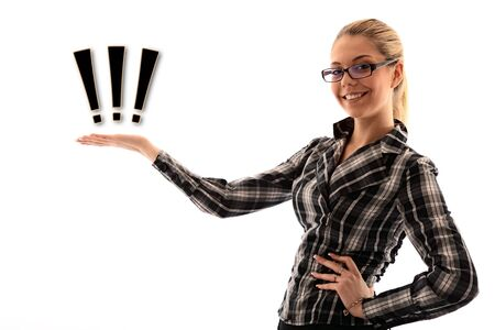 attractive girl holding sign in hand. studio shot Stock Photo - 9959755