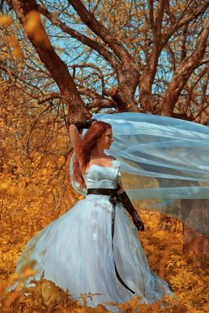 attractive bride girl in elegant dress. outdoor shot Stock Photo - 9959787