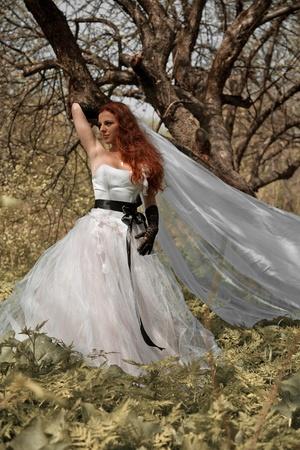 attractive bride girl in elegant dress. outdoor shot photo