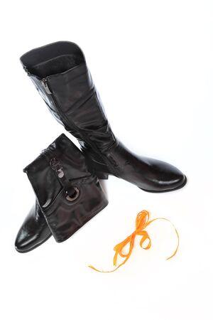 pair of leather womens shoe. studio shot photo