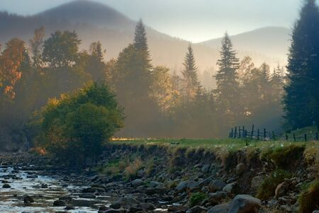 riverbed: mountain landscape with riverbed in morning light. nature Stock Photo