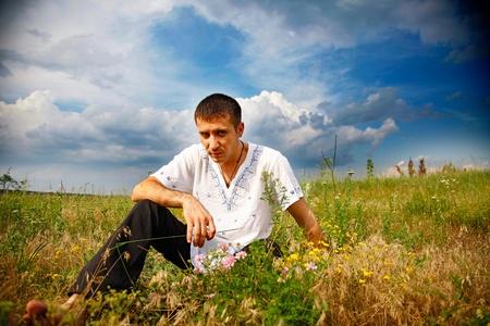 serious man gaze at camera. outdoor shot Stock Photo - 11977232