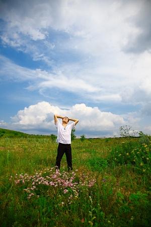 handsome man enjoying nature. outdoor shot Stock Photo - 11977212