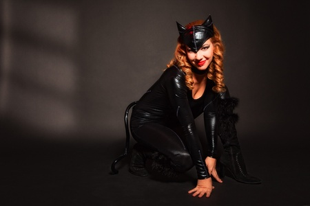 attractive woman in image of cat photo