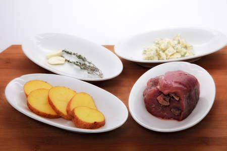 ingredients for roast meat with potatoes photo