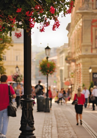 Daytime street in the city of Lviv, Ukraine