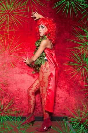 peruke: attractive woman in exotic costume. indoor shot Stock Photo