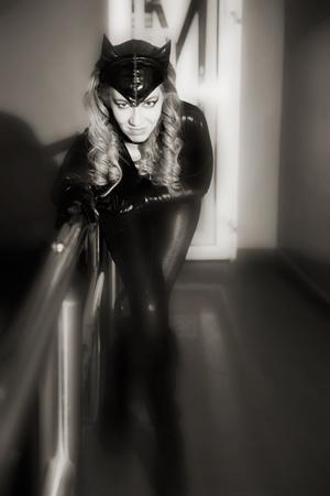 mujer atractiva en traje de gato. tiro bajo techo Foto de archivo - 12270019