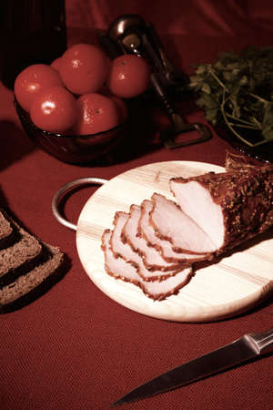edible still life. pieces of meat on a cutting board Stock Photo - 13882708