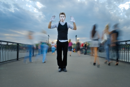 mime actor on street. outdoor shot