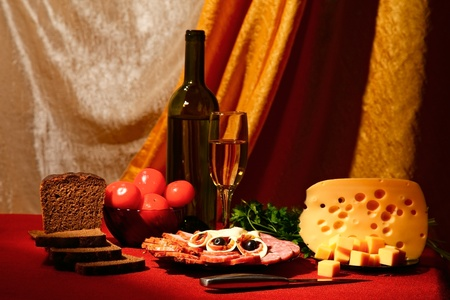 edible still life. variety of food on table photo