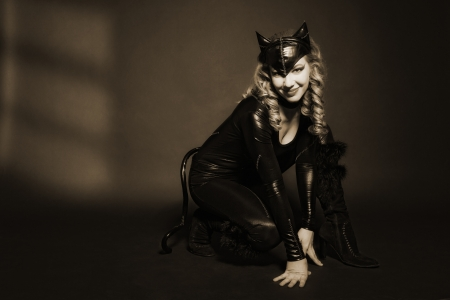 catwoman: attractive woman in image of cat