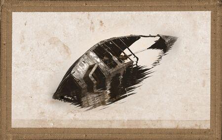 sunken boat: rusty sunken boat in oldstyle frame