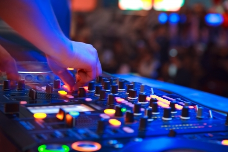 techno: nightclub parties. DJ Stock Photo