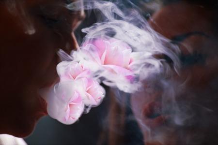 beautiful girls in smoke with hookah