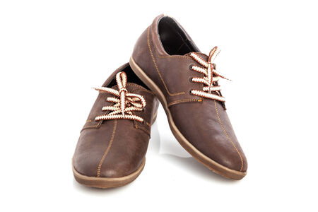 loafers: A pair of mens leather shoes with colorful laces