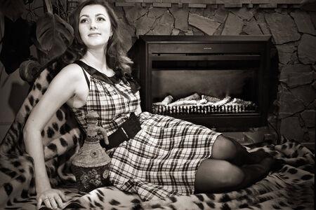 portrait of attractive young woman. indoor shot photo