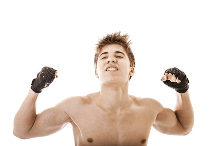 strong and handsome young fighter photo