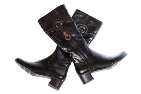 two leather boots on a white background Stock Photo