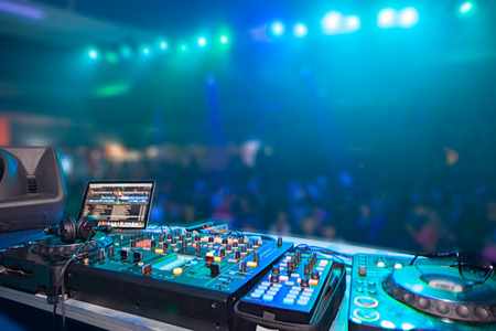 DJ stand in the club glow Stock Photo