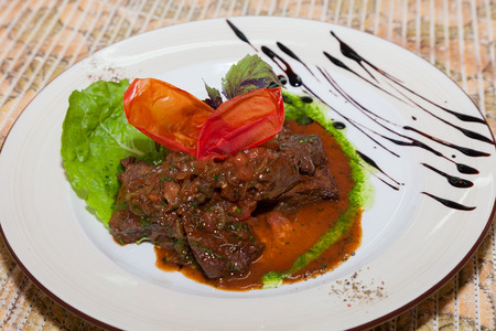 appetizing: appetizing dish of meat with sauce