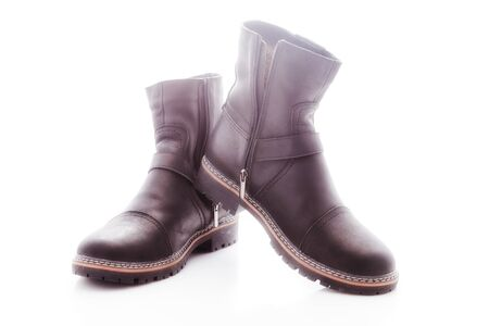 Mens winter boots with zipper and locking buckle photo