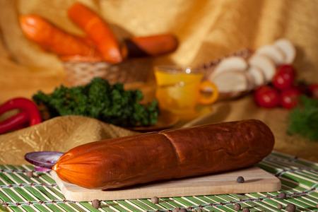 appetizing: appetizing sausage on a cutting board