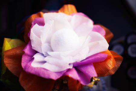 factitious: beautiful artificial flower, handmade. close-up