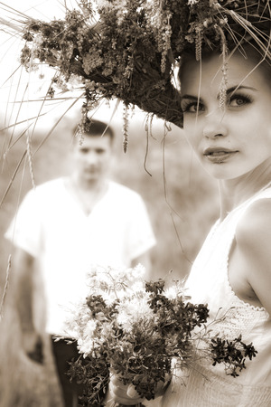 portrait of attractive young couple. outdoor shot photo
