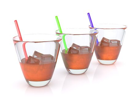 bourbon whisky: realistic whiskey with ice and straws in the glass. RGB. 3D Stock Photo