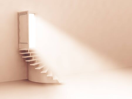 open door: the flow of light from the open door. Staircase up. 3D Stock Photo