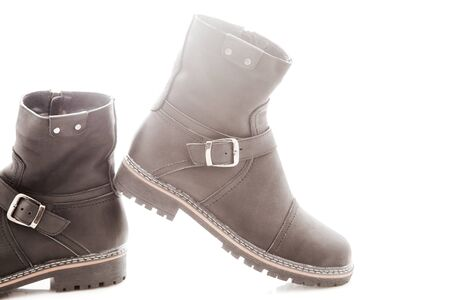 buckle: Mens winter boots with zipper and locking buckle Stock Photo