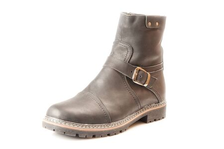 Mens winter boot with zipper and locking buckle