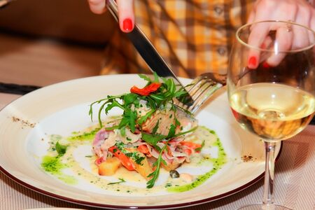 rosmarin: Fillet of Norwegian salmon with garlic, confit tomatoes and pesto Stock Photo