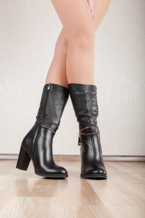 patent leather: Beautiful patent leather boots with slender legs