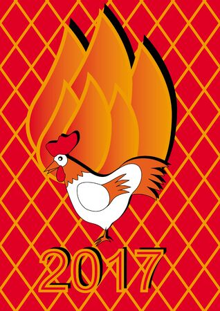 cockscomb: Christmas card year fire rooster. vector illustration