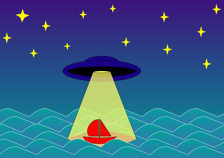 area 51: UFO abducts boat on the sea at night