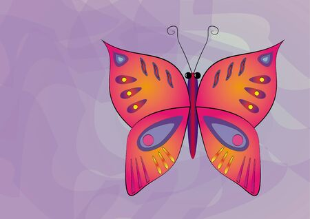 painterly effect: beautiful butterfly on an abstract background. vector illustration