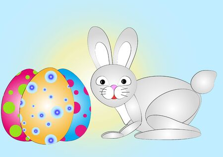 buny: Easter Bunny with eggs. vector background