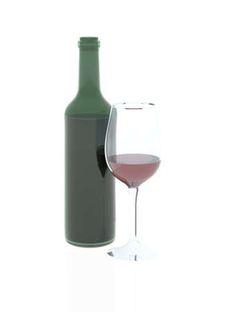 winetasting: bottle and glass of wine on a white background. close-up Stock Photo