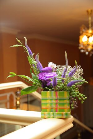 bouquet of flowers lisianthus and veronica. table decoration