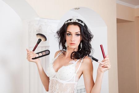 Beautiful brunette in white lingerie