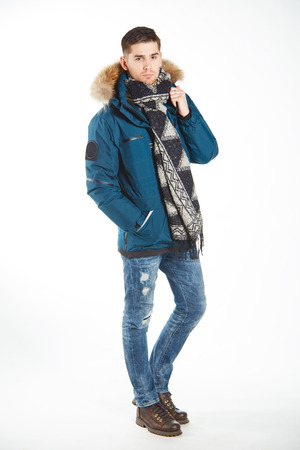 Stylish young brunet in warm clothes Stock Photo