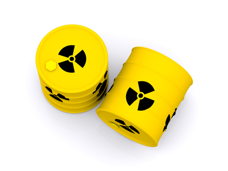 yellow barrels with radioactive waste. 3d