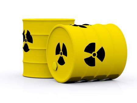 riesgo biologico: barriles amarillos con desechos radiactivos. 3d