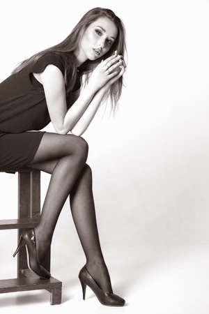 beautiful girl in studio. Makeup and Hairstyle 写真素材