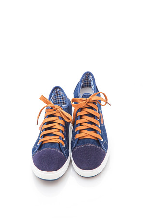 stylish, comfortable, textile men shoes on a white background