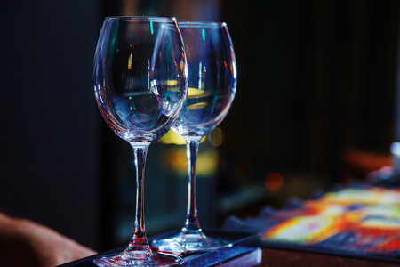 empty wine glasses on bar 스톡 콘텐츠