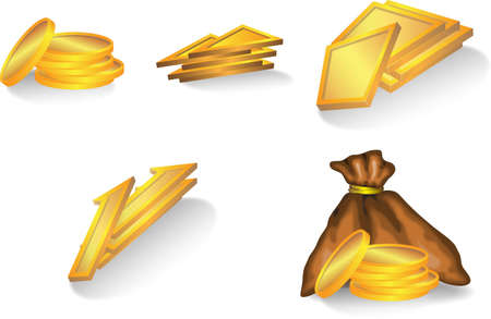 trapeze: set of gold elements : coins, bag, trapeze, triangle