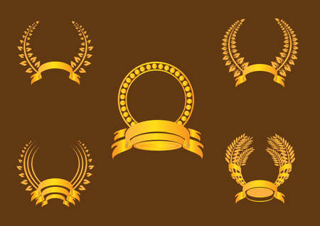 Gold laurel wreath and banner on a brown background Vector